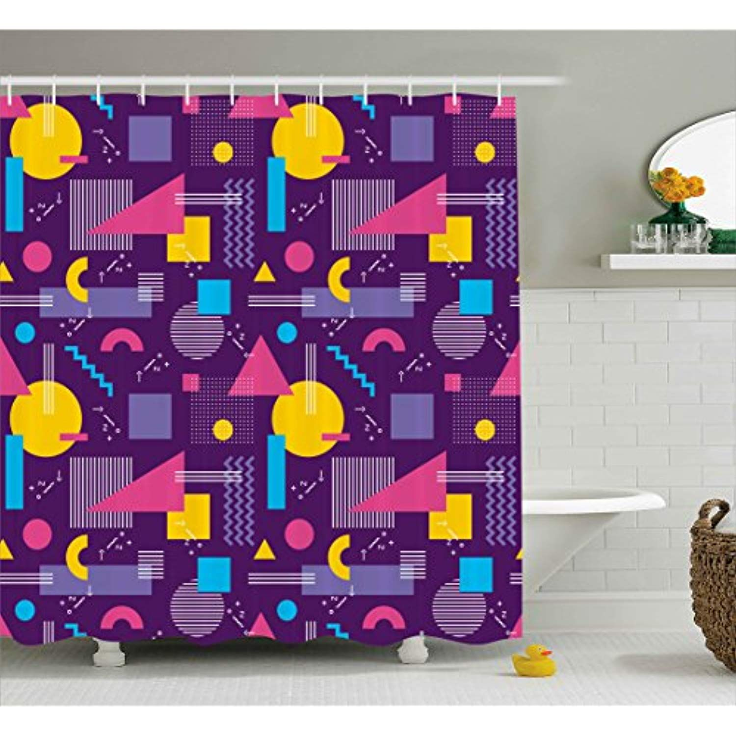 Geometric Decor Shower Curtain By Ambesonne Square Triangles With