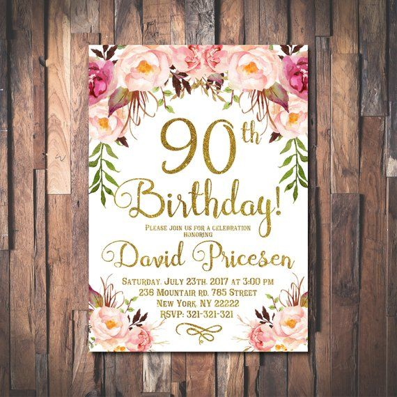 90th Birthday Invitation For Women Floral Party