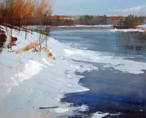 I came across David Lidbetter's work in a gallery in Ottawa. I love his work and how it reflects the essence of happy accidents yet still laying the paint down minimally with intention.