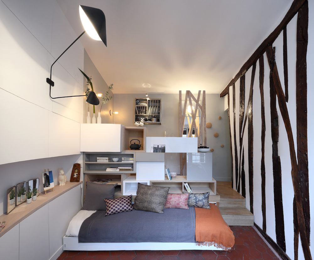 Tiny E 129 Sq Ft Transformed Into Mini Apartment With Saving Ideas Like A Pull Out Bed