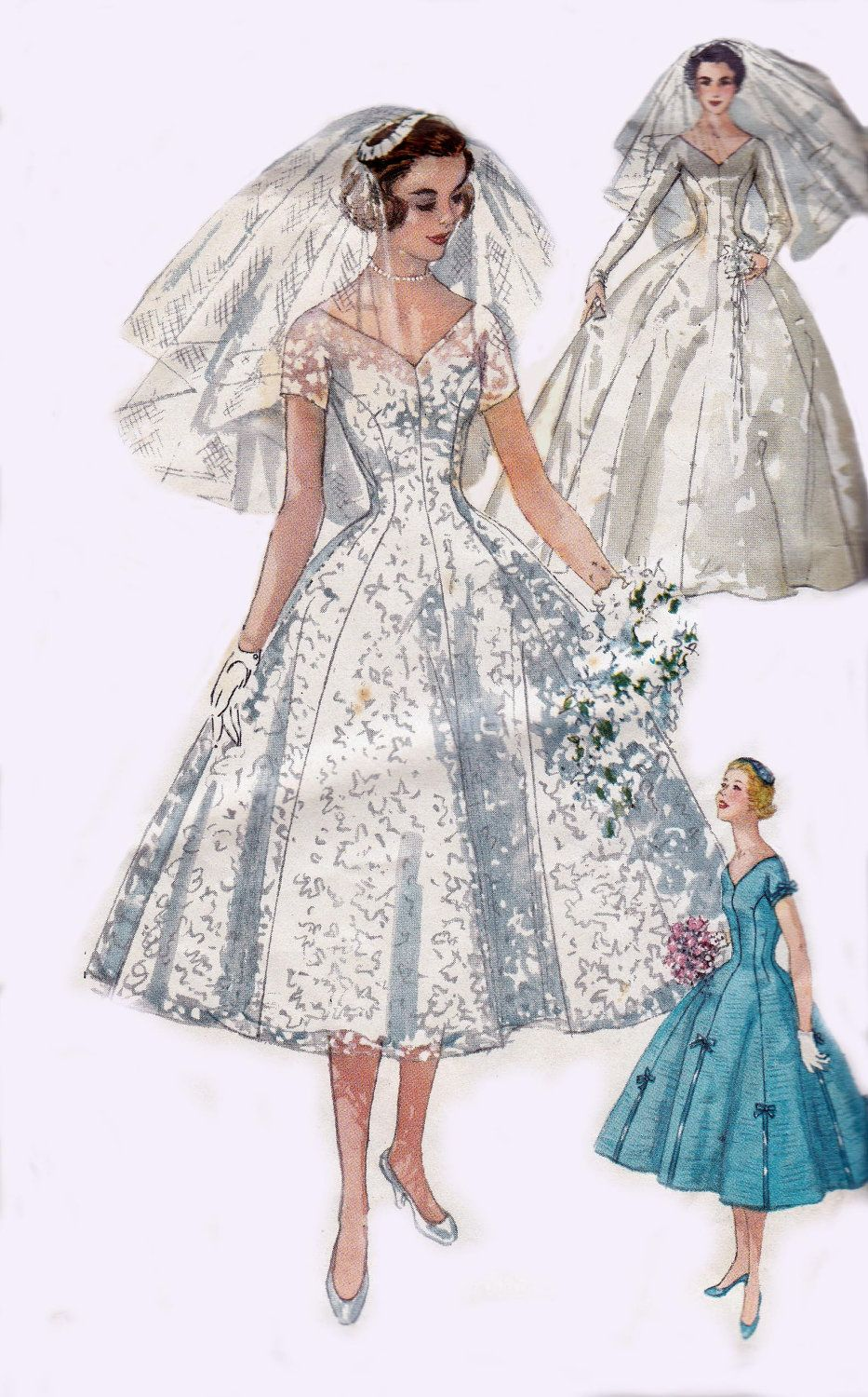 50s Wedding Dress Pattern Simplicity 1461 Full Skirt Princess Styled ...