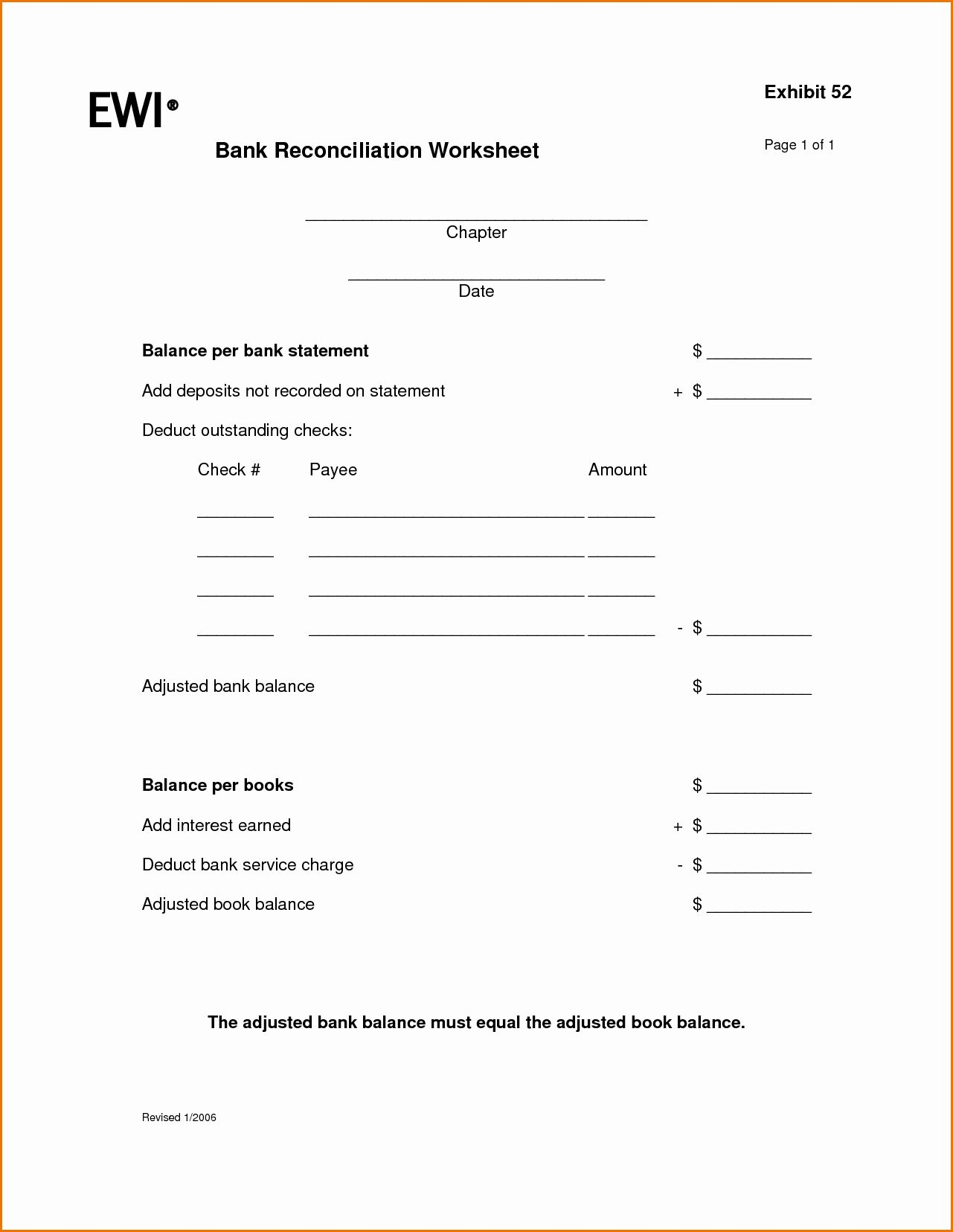 Reconciling A Bank Statement Worksheet Awesome Worksheet