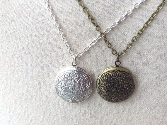 Silver or Bronze Locket Necklace by SheilasCharms on Etsy