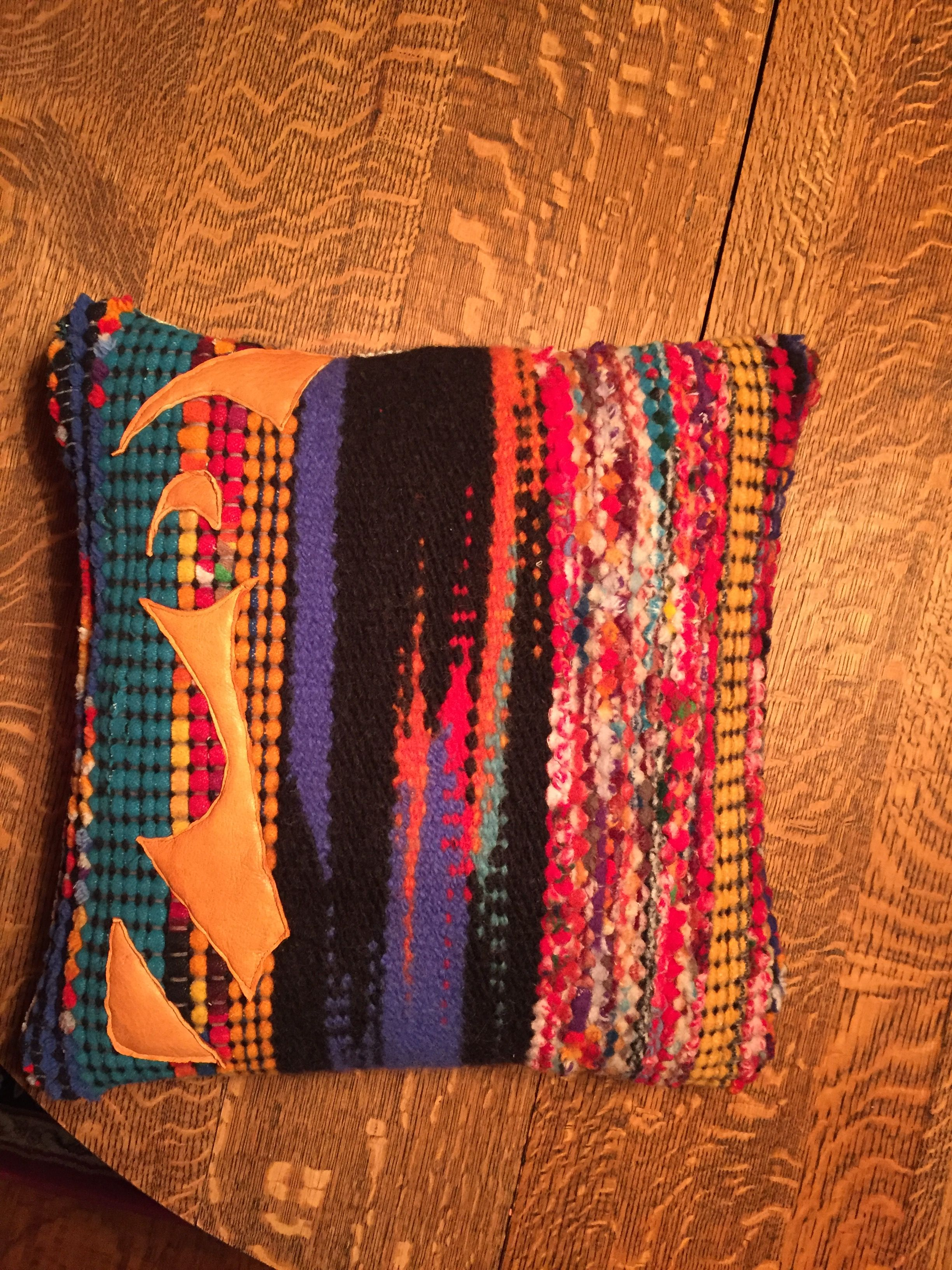 Handwoven Pendleton wool selvages with wool yarn clasped weft and recycled leather