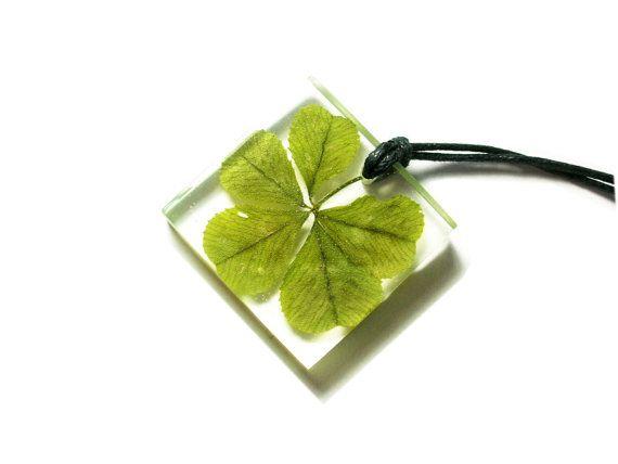 Adorable Real Five Leaf Clover Resin HandMadeWorksByYana