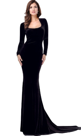 Women Black Elegant Long Maxi Dress Sexy Lace Backless Long Sleeve Party  Evening Mermaid Dresses