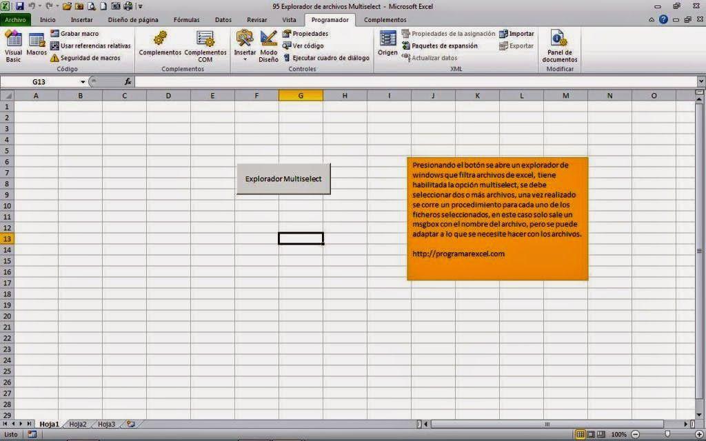 Programar En Vba Macros Para Excel Explorador De Archivos Multiselect Archivadores Exploradores Macros