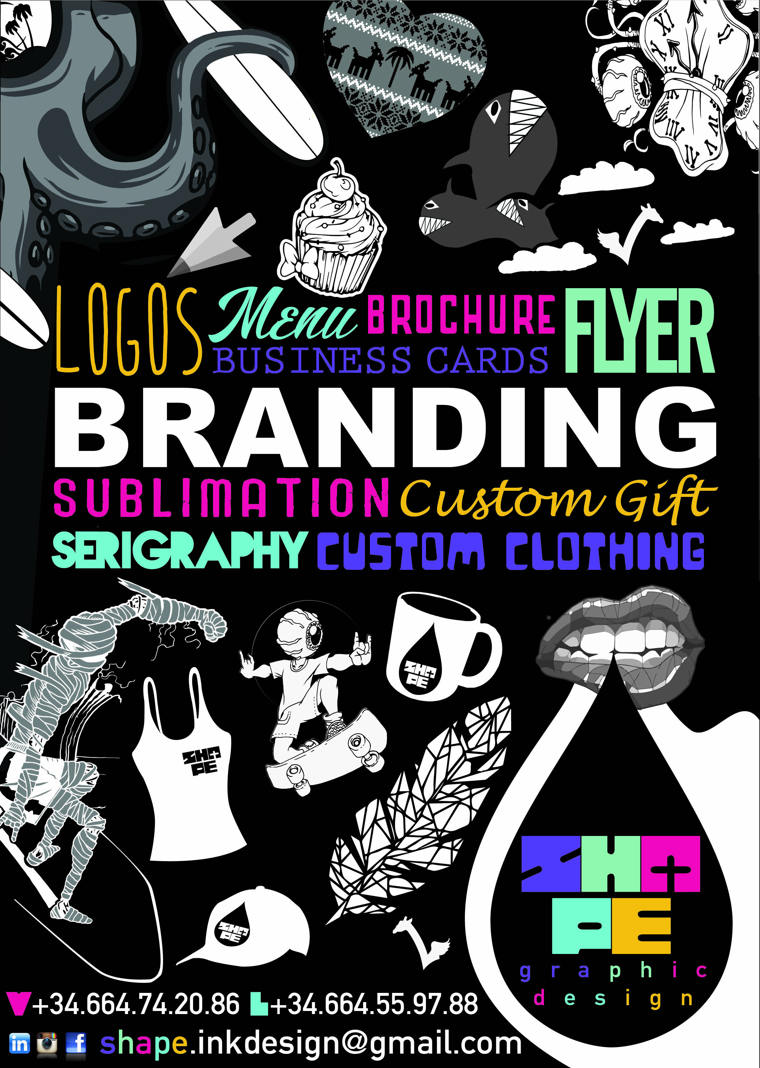 WE ARE BRANDING LOGOS MENU BROCHURE FLYER SUBLIMATION