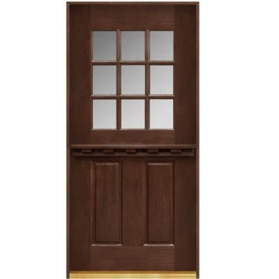 Main Door 36 In X 80 Dutch Collection 9 Lite Prefinished Antique Mahogany Prehung Front