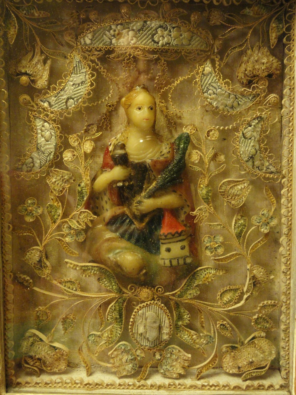 Antique 18/19th Cent. WALL WOOD FRAME RELIQUARY w/ WAX BUST ST ...
