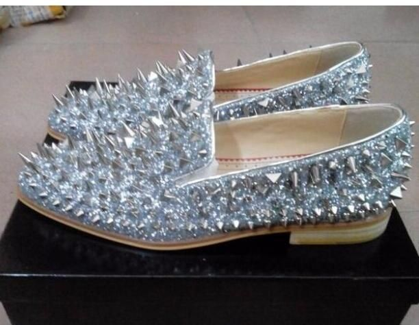 3f57863df2ae2 Men's Shiny Bling Bling Spiked Slip On Dress Shoes | Fashion in 2019 ...