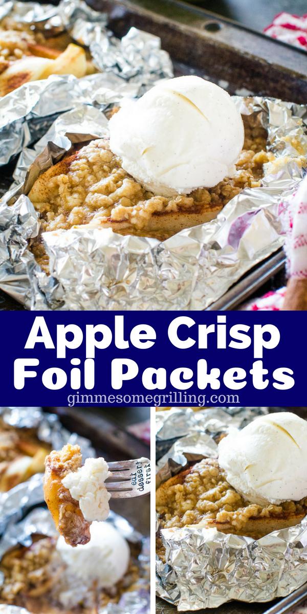 Campfire Apple Crisp Foil Packets - Gimme Some Grilling