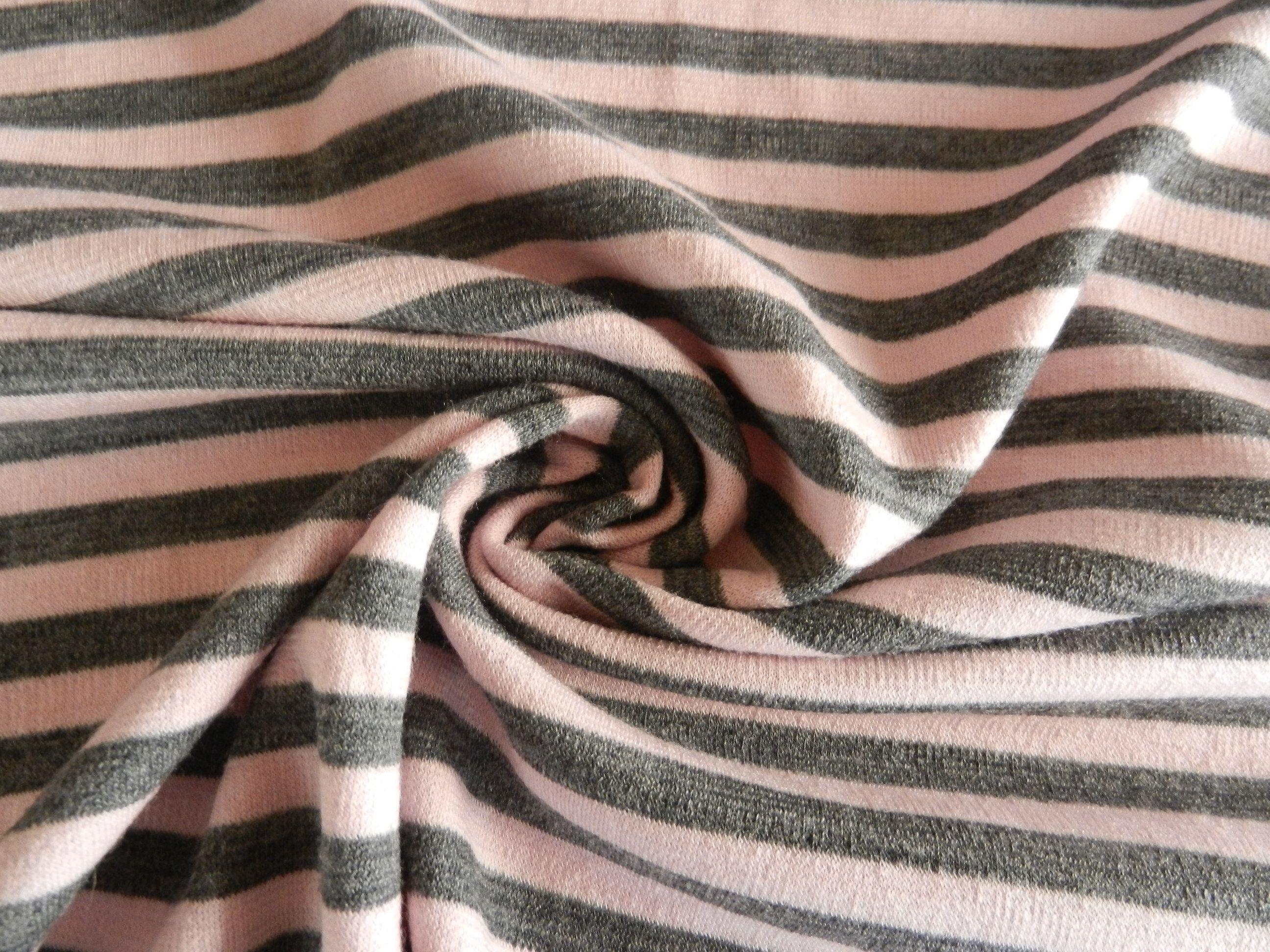 Pink And Grey Stripe 100 Merino Heavier Weight 25 Per Metre Pink Grey Grey Stripes Fabric