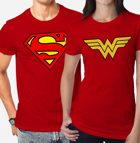 fac6375d8 Superman and Wonderwoman Couples T Shirt Superhero by codingscrip ...