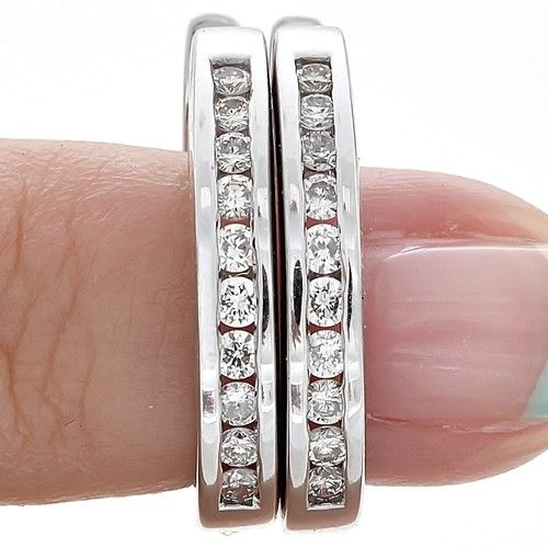 ESTATE.52Ct ROUND CUT GENUINE DIAMOND HUGGIE HOOP HINGED EARRINGS 14K WHITE GOLD