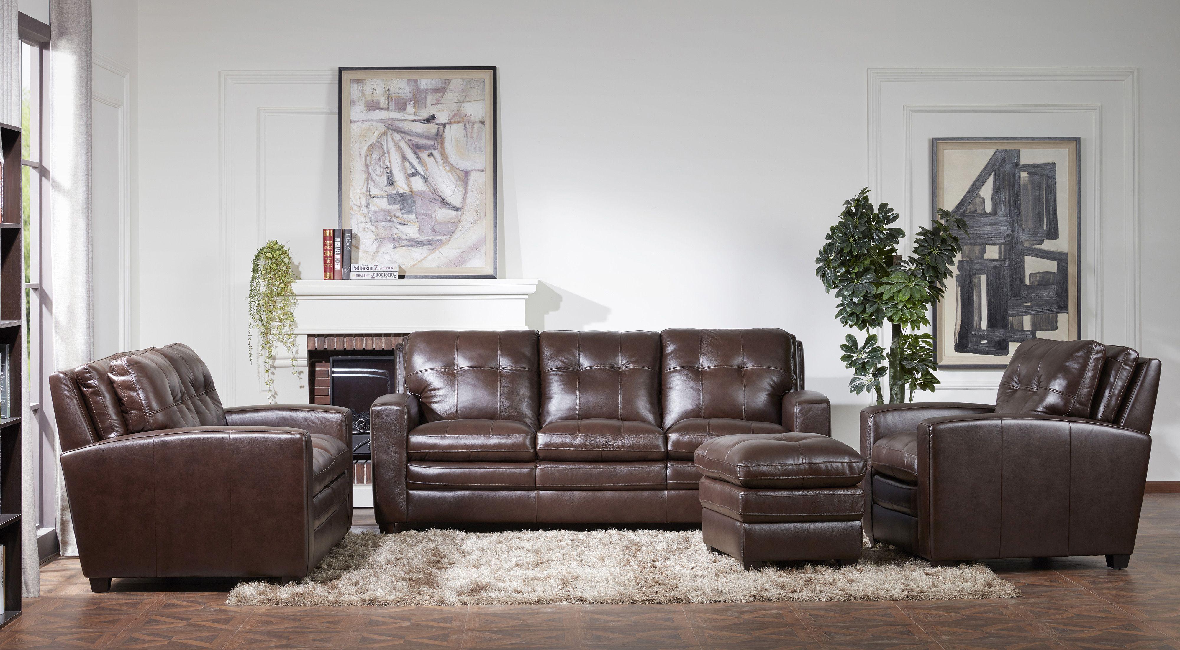 Modern Contemporary Mahogany Leather Sofa - Roland ...