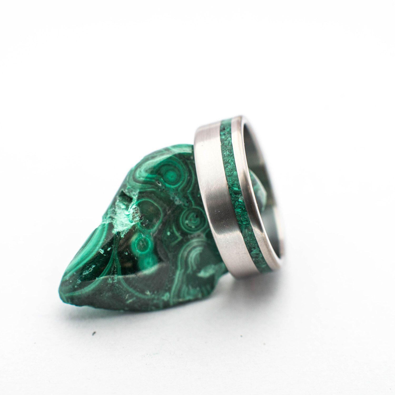 Titanium Ring With Malachite Mineral Stone Inlay. Wedding
