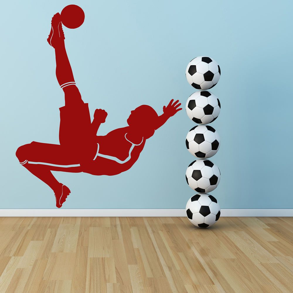 Football Kick Player Ball Goal Football Wall Stickers Sports Decor