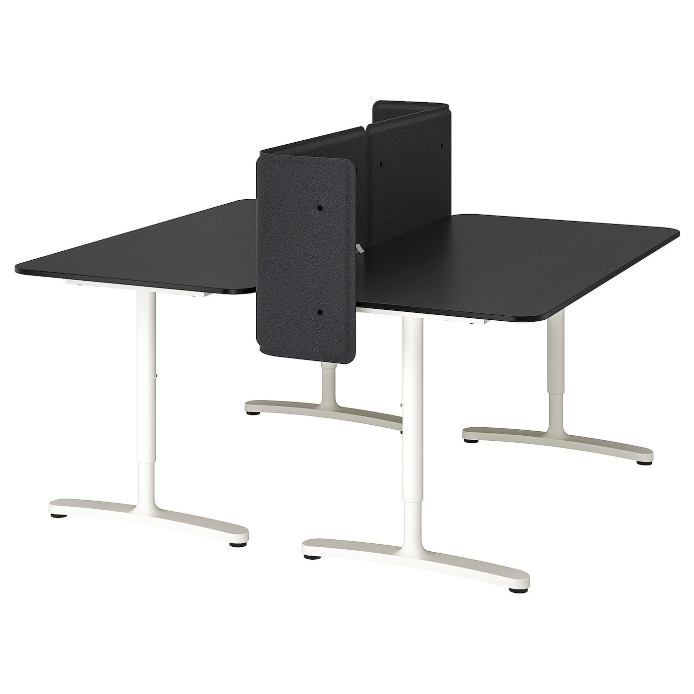 Bekant Desk With Screen Black Stained Ash Veneer White 63x63 21 5 8 160x160 55 Cm Ikea Bekant Ikea Ikea Bekant Desk