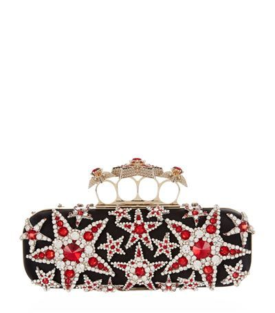 107fe984a7f70 ALEXANDER MCQUEEN Embellished Stars Knuckle Duster Clutch. #alexandermcqueen  #bags #leather #clutch #silk #hand bags #
