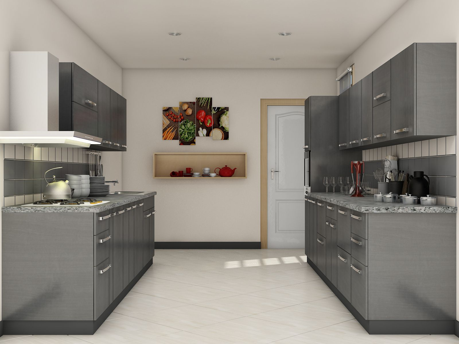 Grey modular kitchen designs parallel shaped modular for Modular kitchen shelves designs