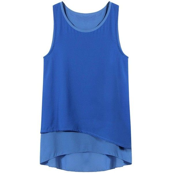 Yoins Layered Tank Top ($16) ❤ liked on Polyvore featuring tops, shirts, tank tops, blue, camisoles & tank tops, blue camisole, chiffon tank, layering cami and layering tank tops