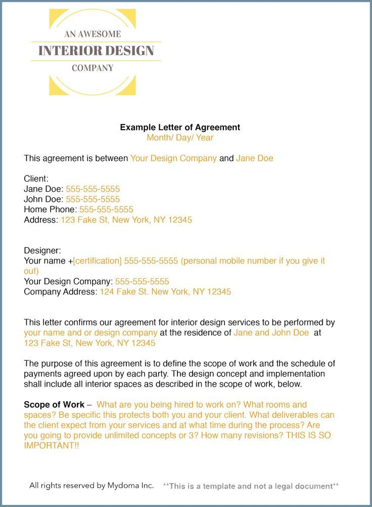 How to write an interior design letter of agreement #ad Interior - example of work order form