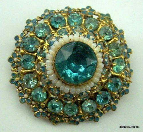 47b7ae3ec8c71 Vtg ANTIQUE Brooch Pin Victorian Signed CZECH Aqua Blue Rhinestone ...
