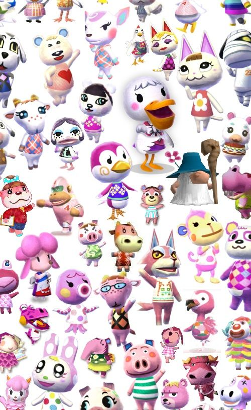 Animal Crossingall dem pink characters Animal crossing
