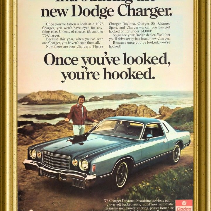 1976 Dodge Charger Tom Selleck You\'re Hooked Vintage Ad from West ...