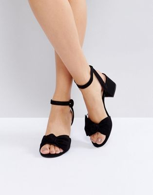 6ad3ef96f54be ALDO Beautie Black Mid Heeled Knot Front Sandals   Shoes in 2019 ...