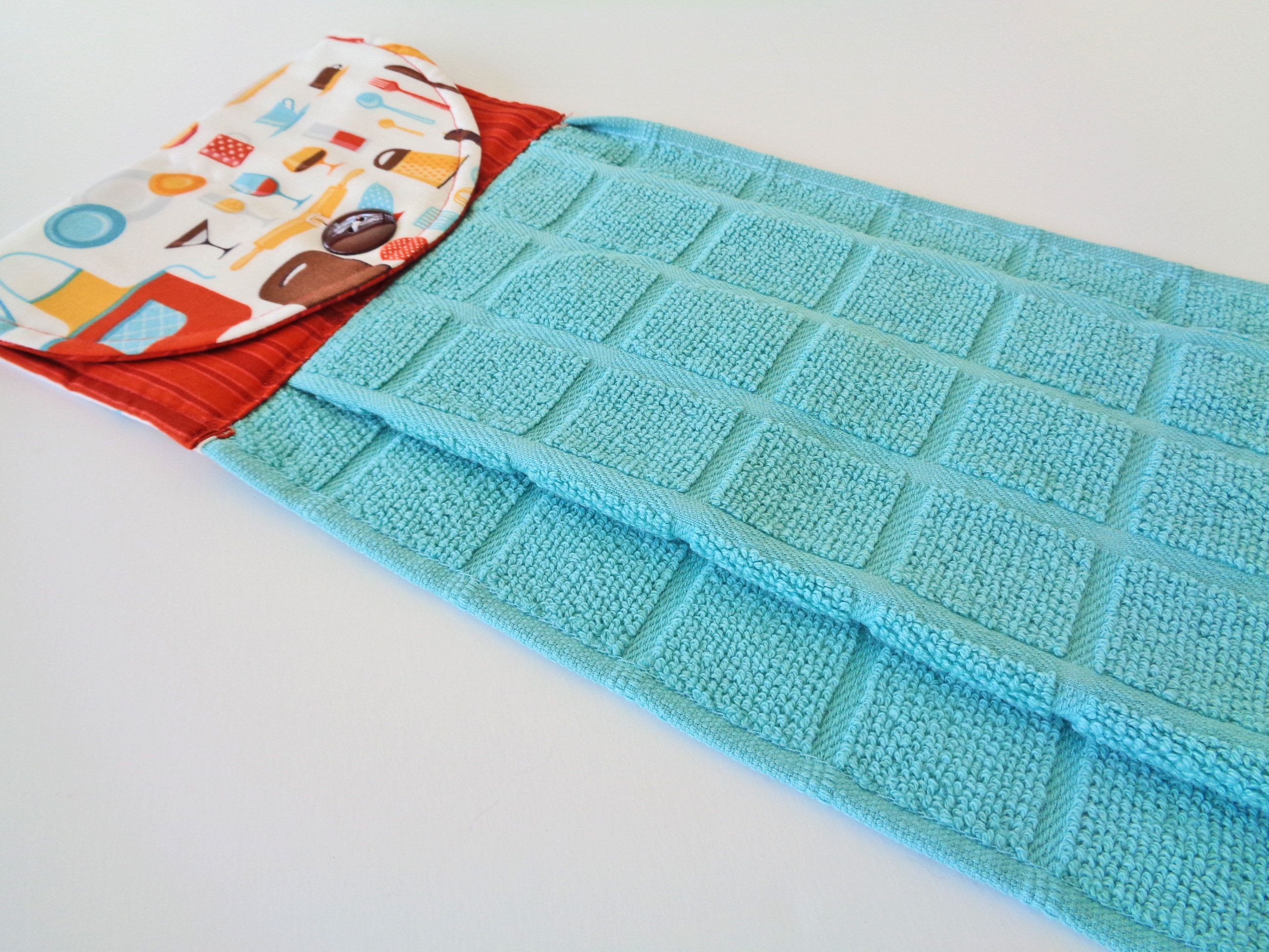 Turquoise Hanging Kitchen Dish Towel - Blue and Rust Dish Towel ...