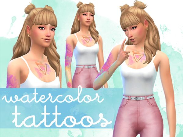 Ratboysims Watercolor Tattoos Sims Sims 4 Sims 4 Cas