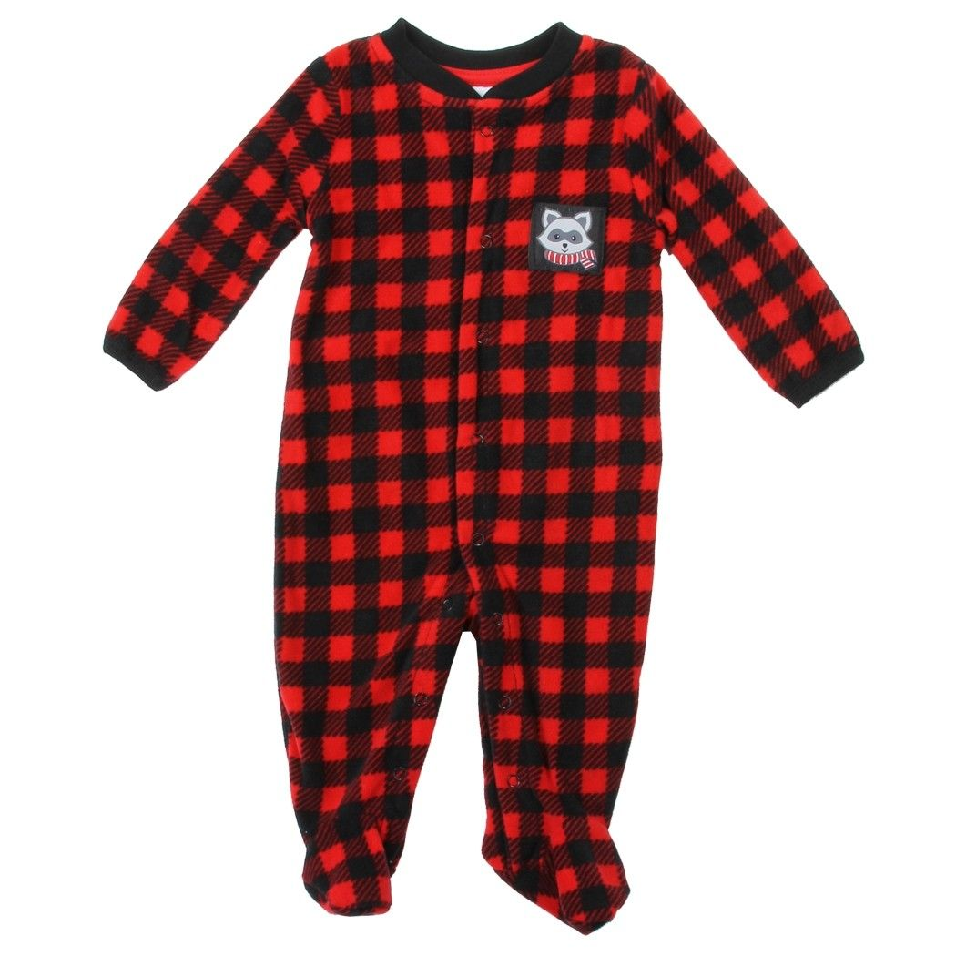 4c7cb5aa2 Buster Brown Red And Black Plaid Micro Fleece Footed Coverall ...