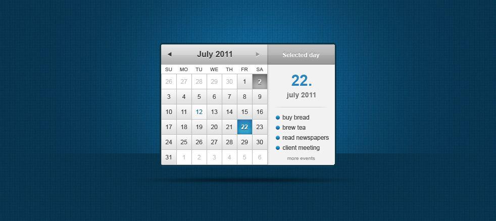 Free Psd Calendar Widget Calendar Widget Calendar App Design