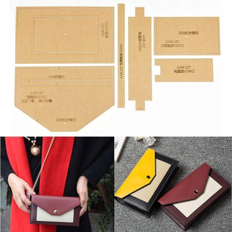 Tienda online diy cuero artesanía mujer bolso cartera monedero bolsa patrón de costura de almacenamiento plantilla de plantilla de papel kraft duro 100 x70mm | AliExpress móvil