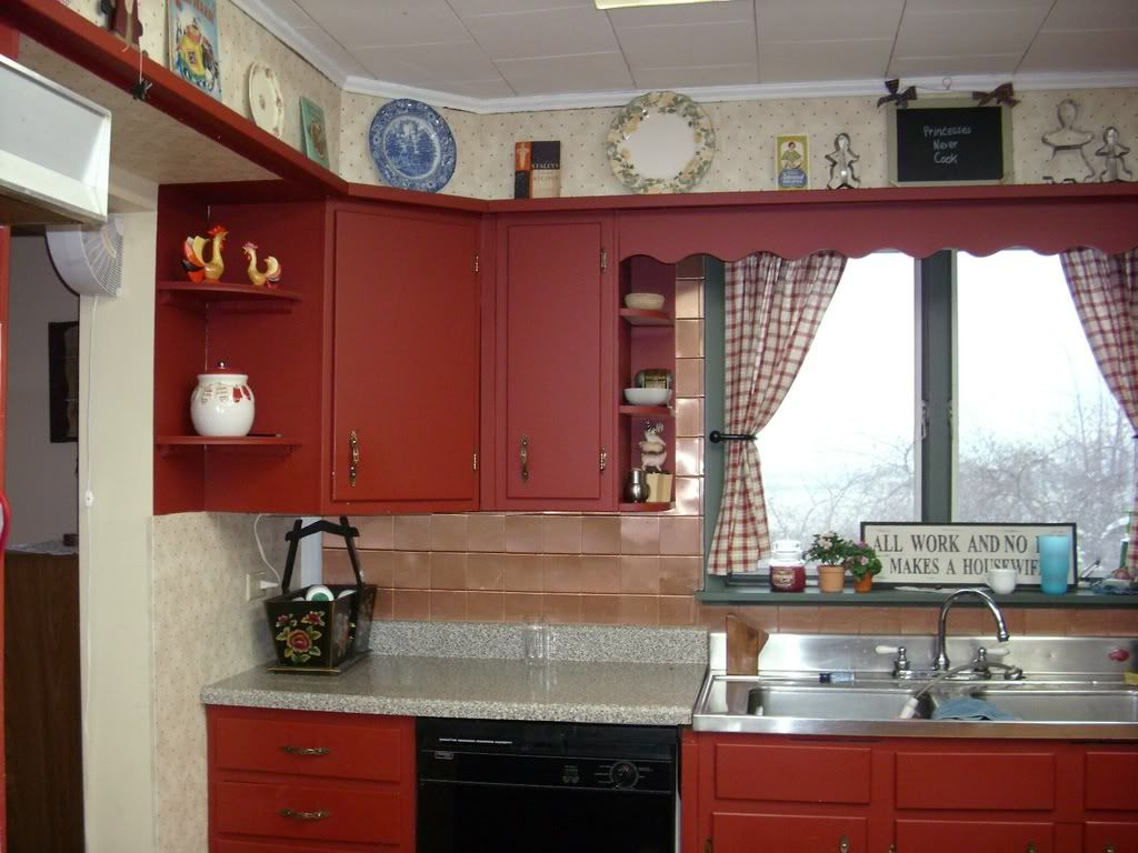 I Like The Idea Of Painting Kitchen Cabinets A Brick Red Color With Chocolate Walls