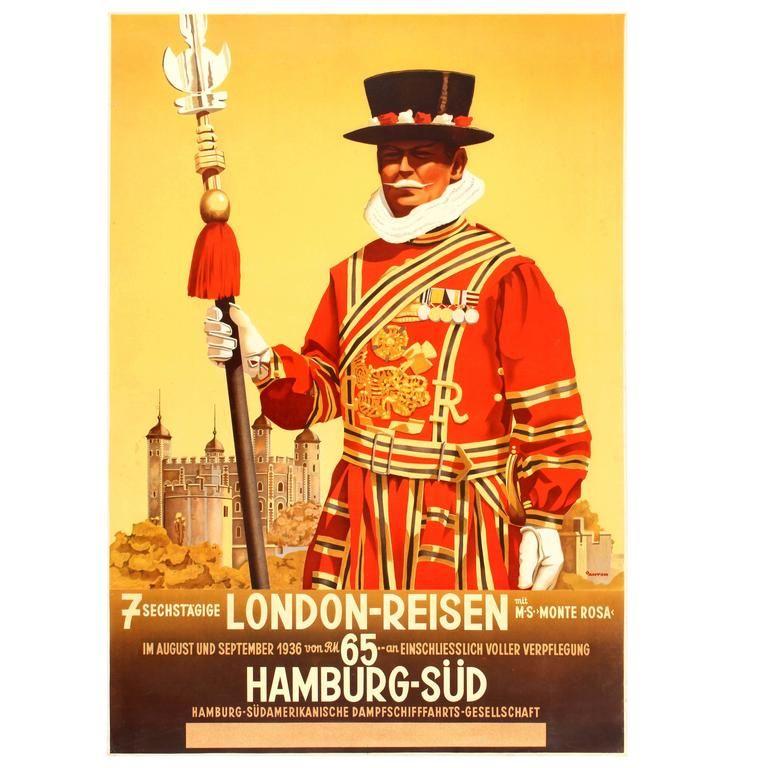 Original Vintage 1936 Travel Advertising Poster for 7 Days ...