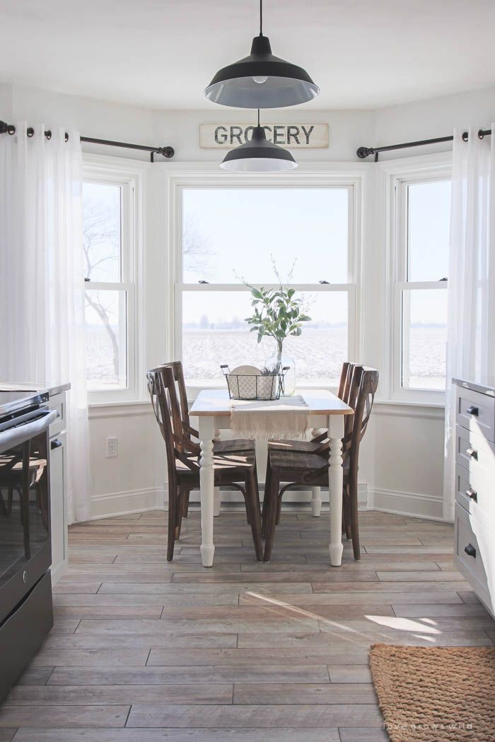 kitchen makeover flooring farmhouse dining room dining table in kitchen trendy farmhouse on farmhouse kitchen curtains id=83893