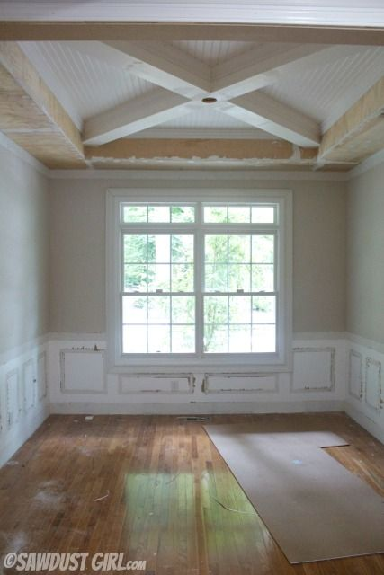 Tray ceiling with x beams molding ideas pinterest for Tray ceiling trim ideas
