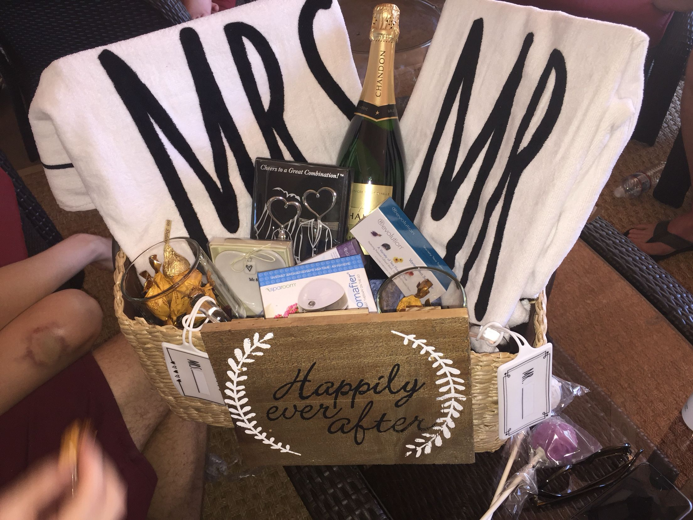 Honeymoon gift basket for my sister. Personalized it with