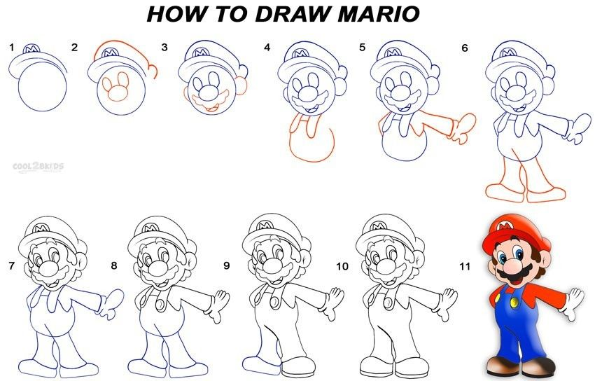 how to draw mario and luigi step by step