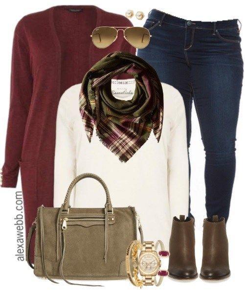 Plus Size Burgundy Cardigan Outfit - Alexa Webb