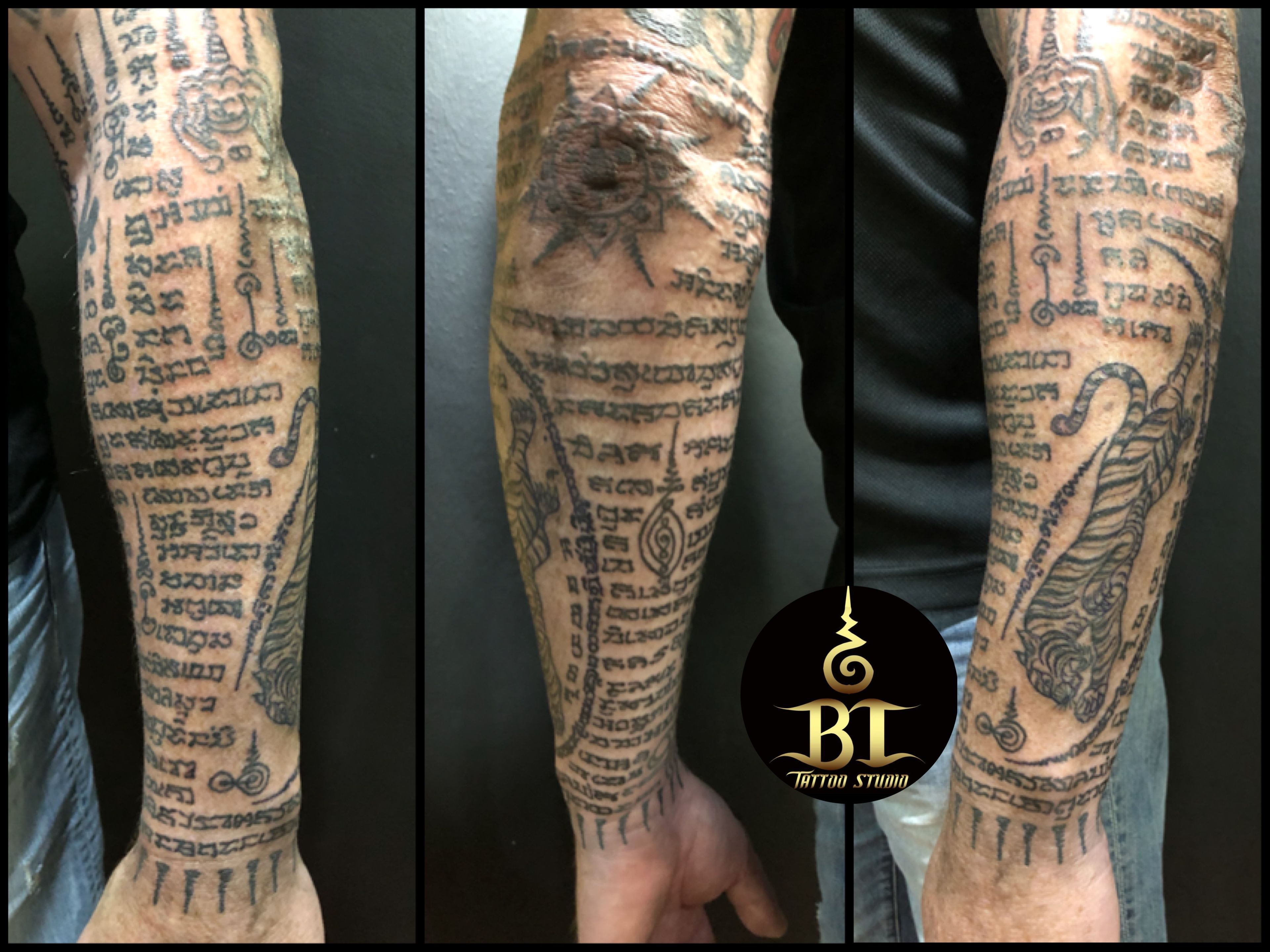 Done traditional Thai sak yant tattoo by bamboo master(www.bt,tattoo.