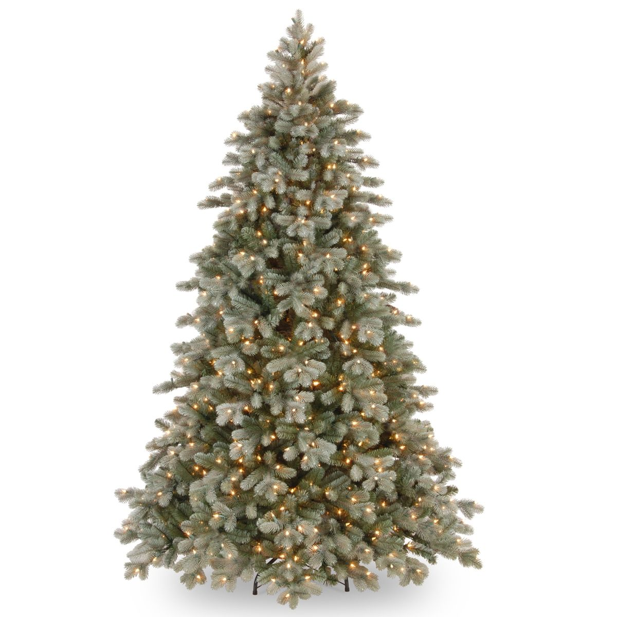 National Tree 7 5 Poly Frosted Colorado Spruce Hinged Tree With 750 Clear Lights Green Artificial Christmas Tree Pre Lit Christmas Tree Blue Spruce Tree