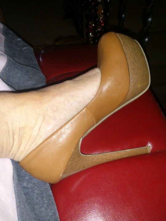 British tan platform stiletto pumps :)