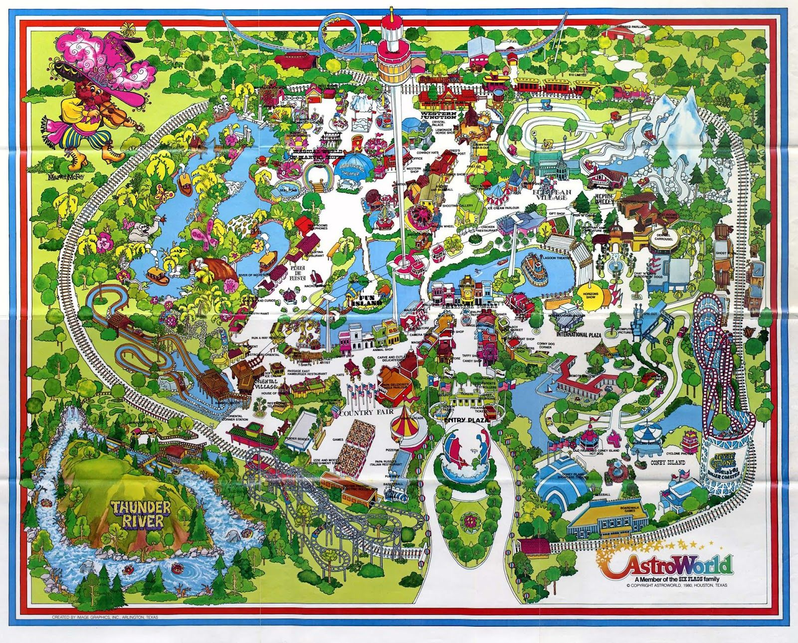 Destructoville Population 1 A Map From The Past Theme Park Map Houston History Astroworld Houston