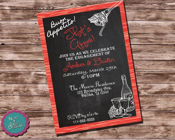 printable engagement party invitation pasta themed party