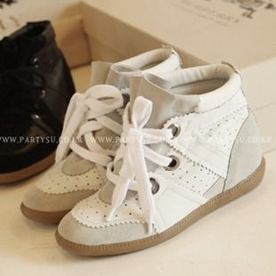 Isabel Marant Betty Leather and Suede Sneakers White   #isabelmarantsale