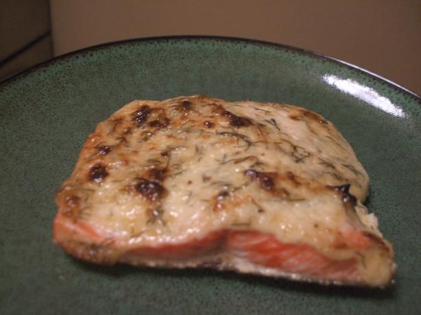 Baked Salmon With Herbed Mayonnaise.- Delish! I topped with some bread crumbs... YUM!